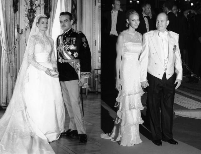 FYRSTEDØMMET SIKRET: Bildet til venstre er tatt i bryllupet til Grace Kelly og fyrst Rainier III i 1956. Bildet til høyre er tatt i 2011, like før middagen etter bryllupet til Charlene og fyrst Albert. Foto: AFP, NTB scanpix