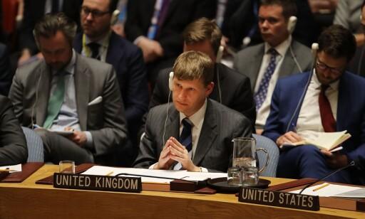 SIKKERHETSRÅDET: Storbritannias viseambassadør i FN, Jonathan Allen, under et møte i Sikkerhetsrådet onsdag. Foto: Spencer Platt/Getty Images/AFP/NTB Scanpix