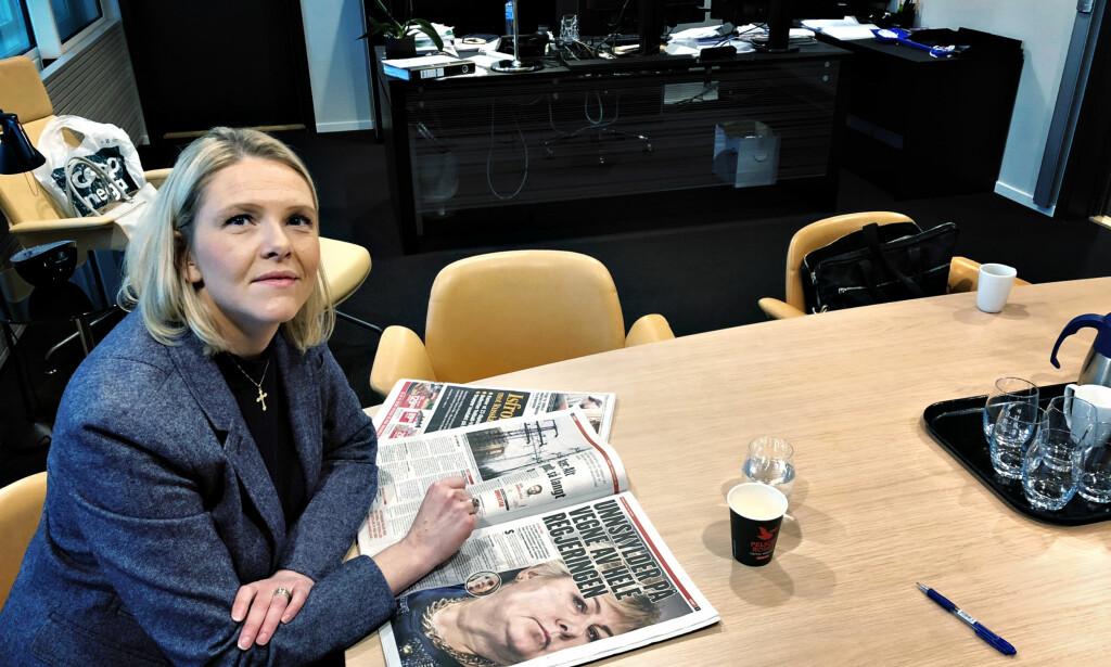 BEKLAGER: Sylvi Listhaug sier at hun aldri ville ha publisert det omstridte Facebook-innlegget sitt hvis hun hadde trodd at det kunne kobles til Utøya-tragedien. Foto: Gunnar Ringheim