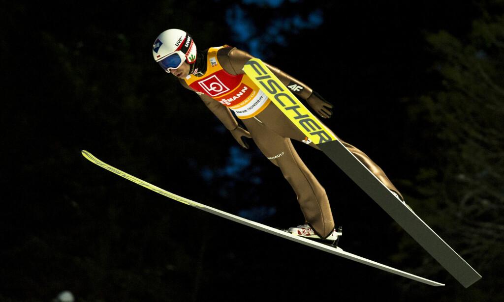 SEIER: Kamil Stoch vant og satte ny bakkerekord i Granåsen torsdag kveld. Foto: Ned Alley / NTB scanpix
