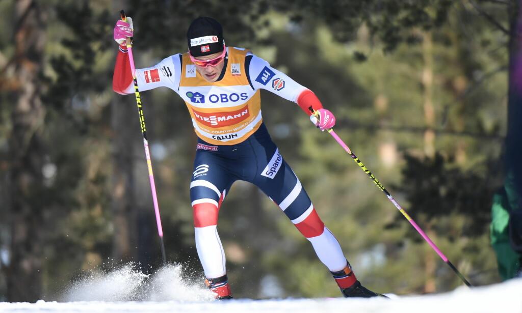SUVEREN: Johannes Høsflot Klæbo vant sprinten i Falun. Foto: Uld Palm/TT / NTB scanpix