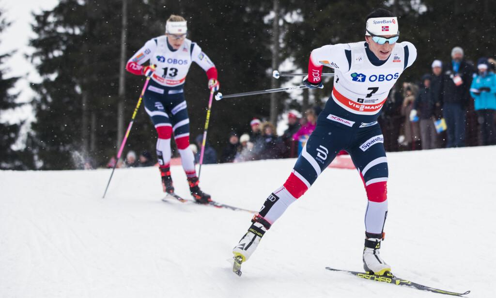 ANDREPLASS: Marit Bjørgen ble nummer to i dagens renn i minitouren i Falun. Her fra Holmenkollen forrige helg. Foto: Berit Roald / NTB Scanpix