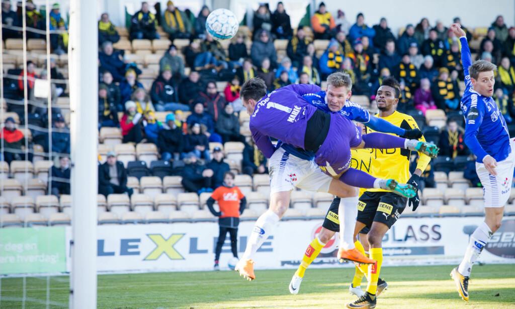 TABBER: Lillestrøm-keeper Marko Maric må ta på seg en stor del av skylden for begge målene til Sarpsborg i dagens kamp. Foto: NTB Scanpix / Audun Braastad