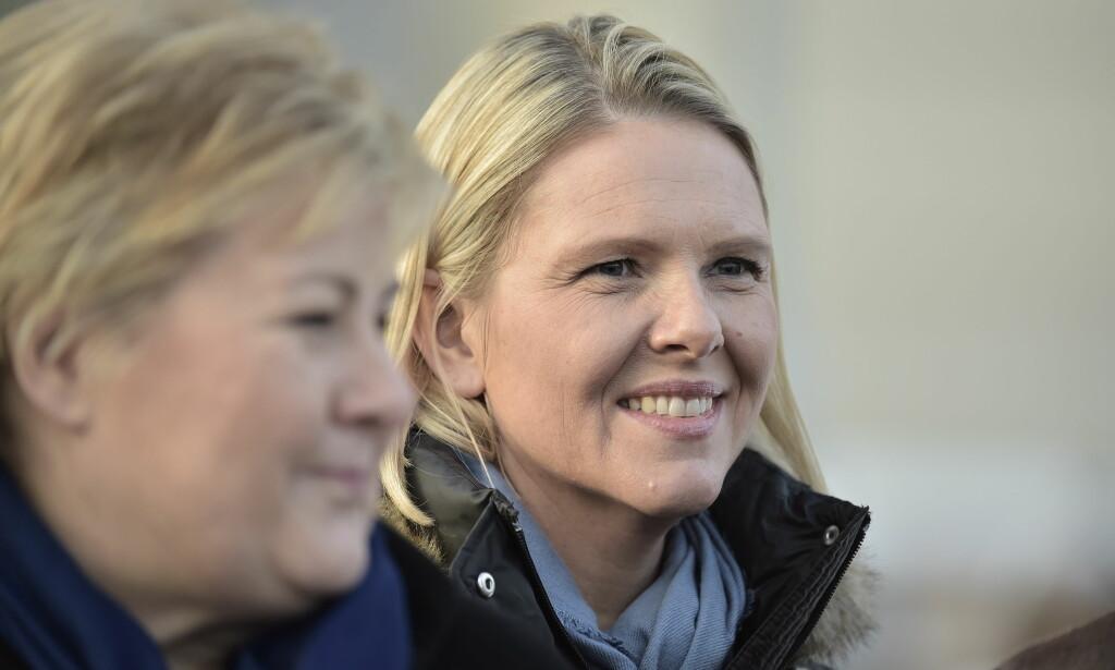 GÅR TILBAKE: Statsminister Erna Solberg (H) og hennes parti går tilbake på meningsmålingen, mens Frp fosser fram. Valgforskerne er ikke i tvil om at grunnen er bråket rundt Sylvi Listhaug (Frp). Foto: Hans Arne Vedlog / Dagbladet