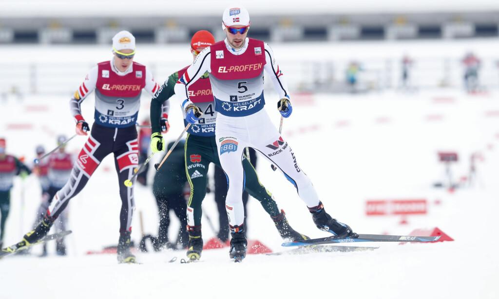 UTENFOR PALLEN: Jan Scmid havnet utenfor pallen i søndagens kombinertrenn. Foto: Terje Bendiksby / NTB scanpix