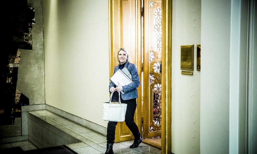 SKJEBNEDAG: KrF skal drøfte et eventuelt mistillitsforslag mot Sylvi Listhaug i dag. Partiet er delt i tre. Foto: Christian Roth Christensen / Dagbladet