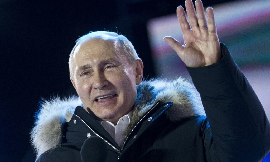 REKORD: Aldri før har president Vladimir Putin vunnet en større valgseier. Foto: AP/NTB Scanpix