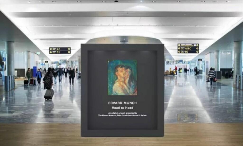 Snart på plass: Slik blir flypassasjerene møtt av en Munch. Illustrasjon: Avinor/Munchmuseet.