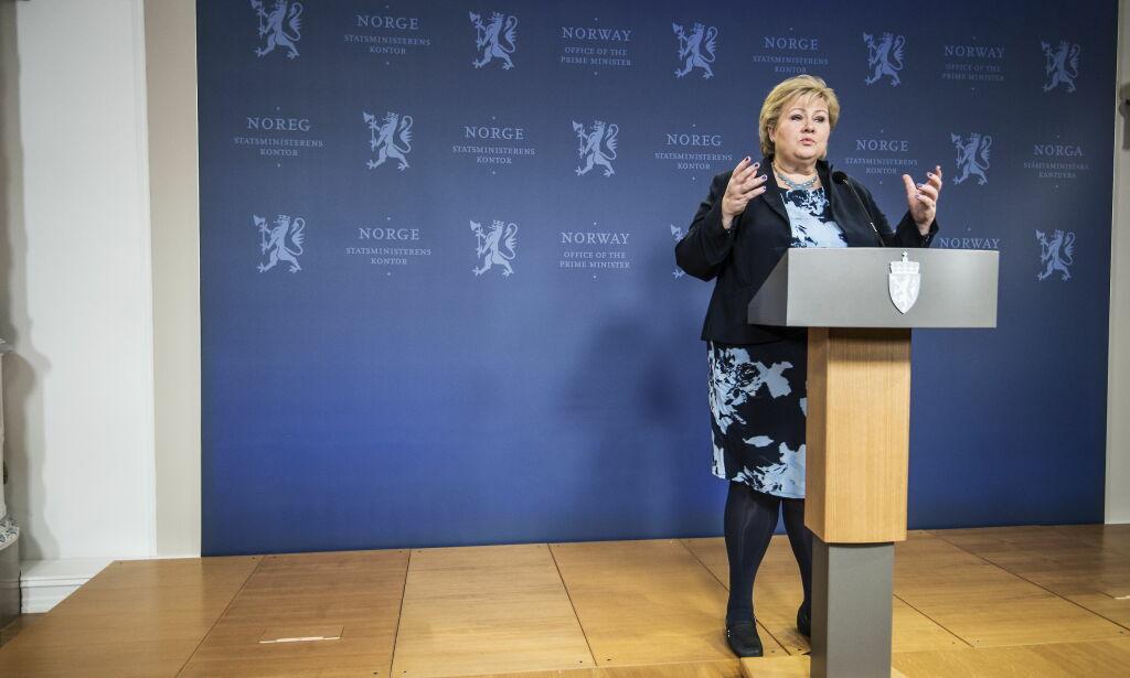 20180320 OSLO Stasminister Erna Solberg i forbndelse med Sylvi Listhaug sin avgang som statsråd.  Foto: Hans Arne Vedlog  / Dagbladet