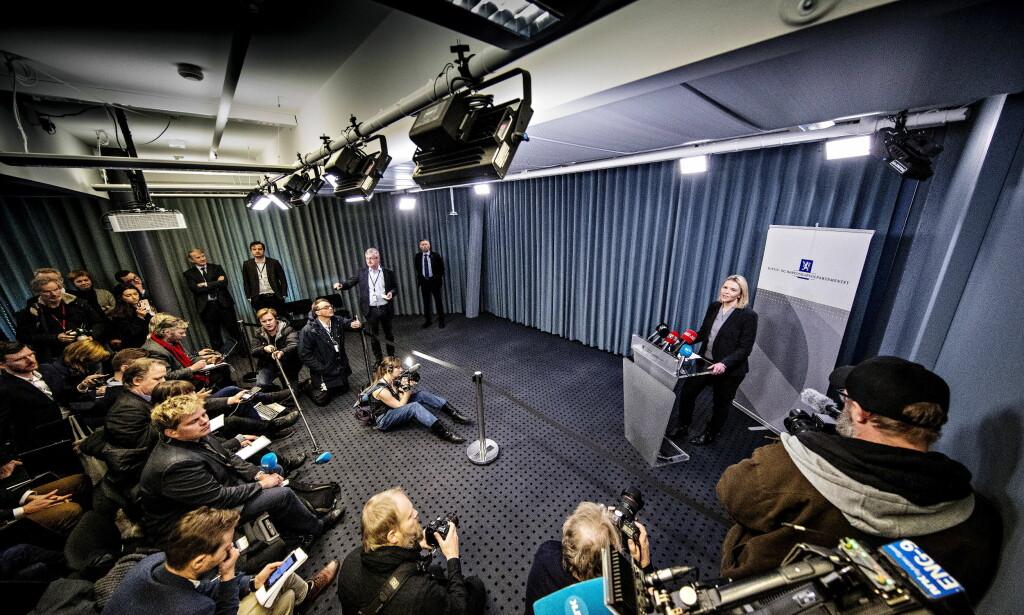 SLUTTEN: Sylvi Listhaug kunngjorde på pressekonferansen i Nydalen tirsdag morgen at hun trakk seg som justisminister.  Foto: Bjørn Langsem / Dagbladet