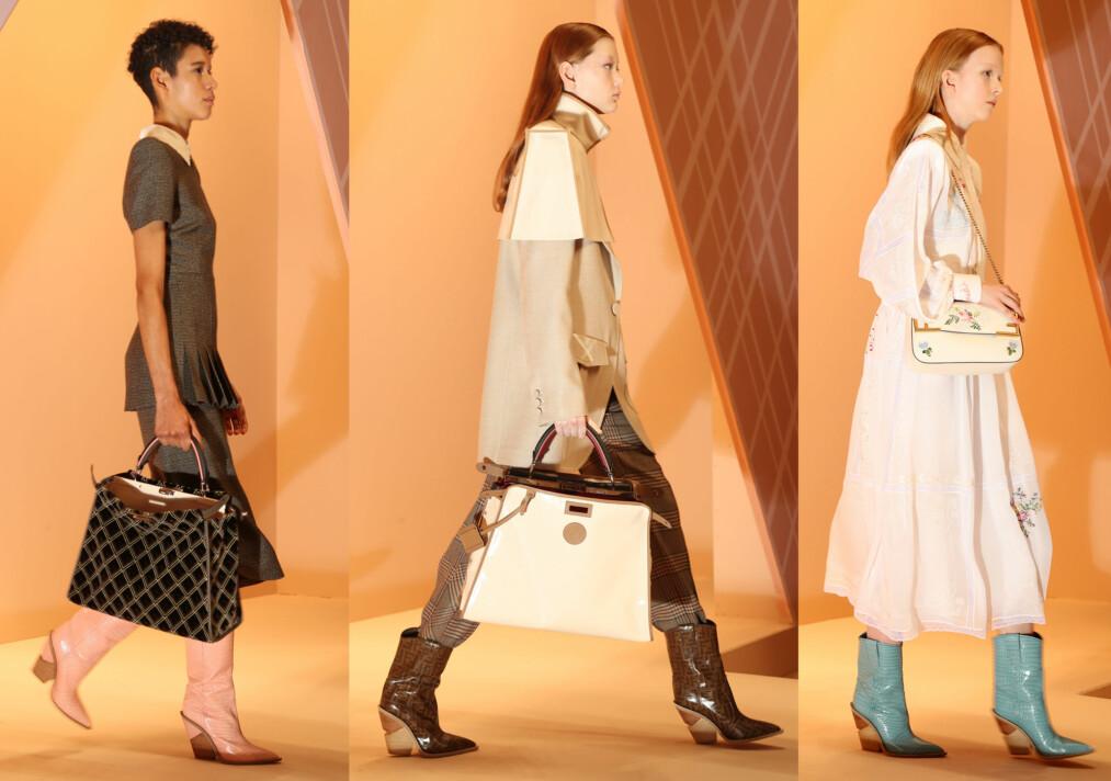 COWBOYBOOTS: Da Fendi presenterte sin AW18-kolleksjon, hadde alle modellene på seg cowboyboots. FOTO: NTB Scanpix