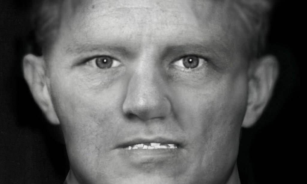 NÄSINGEMANNEN: Skjelettet til denne mannen ble funnet 24. august i 2014 i Näsinge utenfor Strömstad. Ansiktet er rekonstruert av en rettsantropolog fra Liverpool. Foto: Face Lab / Liverpool John Moore University