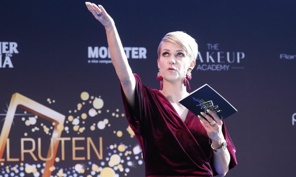 PROGRAMLEDER: Sigrid Bonde Tusvik ropte opp de nominerte til Gullruten i Østbanehallen torsdag. Foto: Bjørn Langsem / Dagbladet