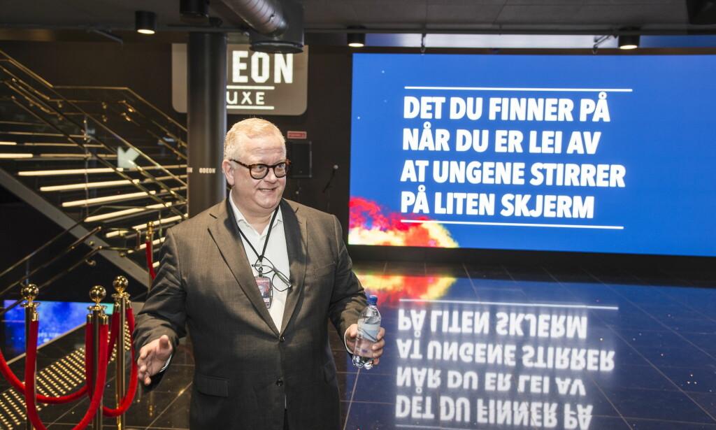 STOLT KINOSJEF: Administrende direktør i Odeon, Ivar Halstvedt, viste stolt fram selskapets nye kinosenter.   Foto: Hans Arne Vedlog / Dagbladet