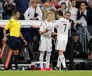 23. MAI 2015: Øyeblikket det ikke er mulig å glemme: Ødegaard kommer inn for Ronaldo mot Getafe på Estadio Santiago Bernabéu. Foto: NTB scanpix