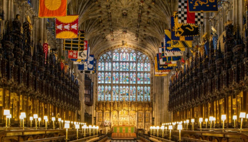 FLOTT: Meghan Markle og prins Harry skal gifte seg i St. George's Chapel i Windsor Castle. Her er et bilde av hvordan det ser ut inne i kapellet. Foto: NTB scanpix