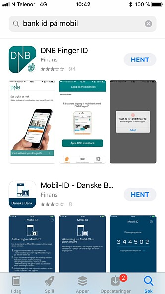 <strong>APP STORE:</strong> Last ned bank ID for iPhone via App Store. Foto: Skjermdump App Store.
