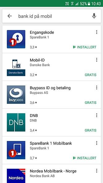 <strong>PLAY BUTIKK:</strong> Last ned bank ID for Android via Play butikk. Foto: Skjermdump Play butikk.