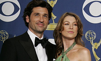 """Actress Ellen Pompeo from """"Grey's Anatomy"""" and Patrick Dempsey pose at the 57th annual Prime Time Emmy Awards in Los Angeles September 18, 2005.  REUTERS/Mike Blake"""