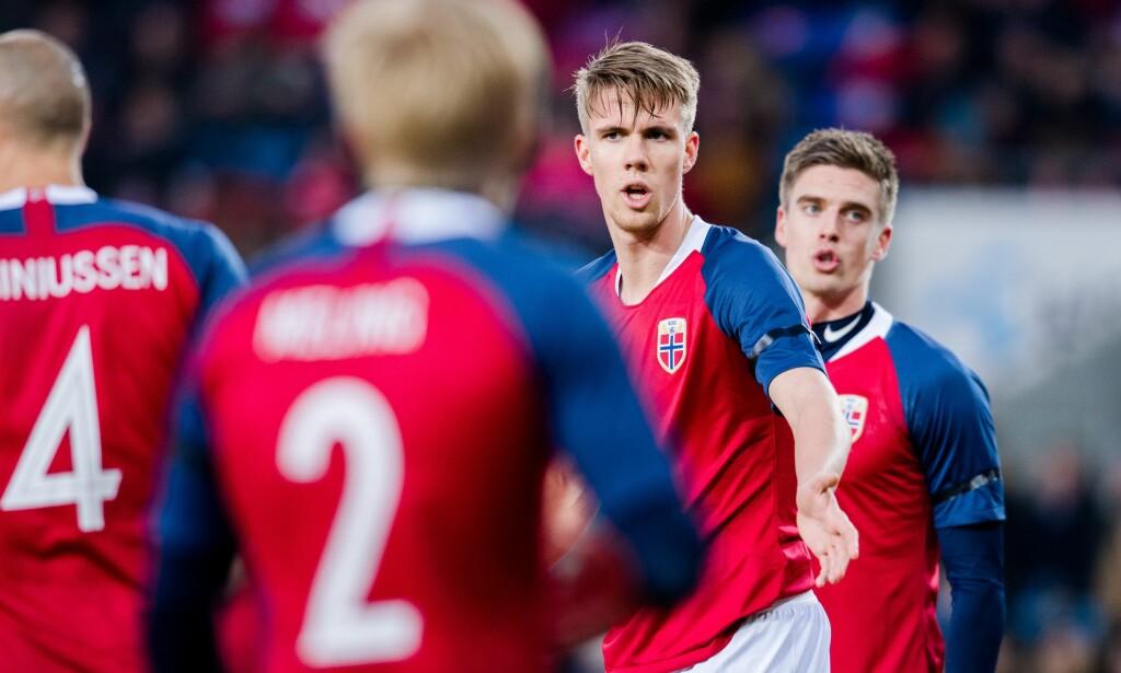 VAR GOD: Kristoffer Ajer fikk debuten sin på A-landslaget mot Australia fredag kveld. Foto: Bildbyrån