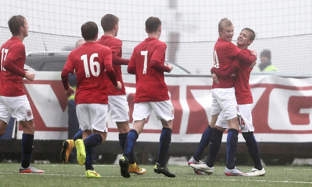 HERJET: Moldes 17 år gamle spisstalent Erling Braut Håland scoret to ganger mot Tysklands G19-landslag da Norge vant 5-2 borte mot fotballgiganten i EM-kvalifiseringen. Arkivfoto: BILDBYRÅN
