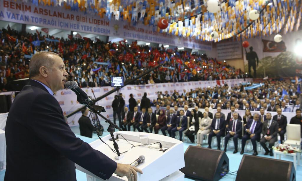 TALTE: Tyrkias president talte i Samsun nord i landet lørdag. Foto: NTB scanpix