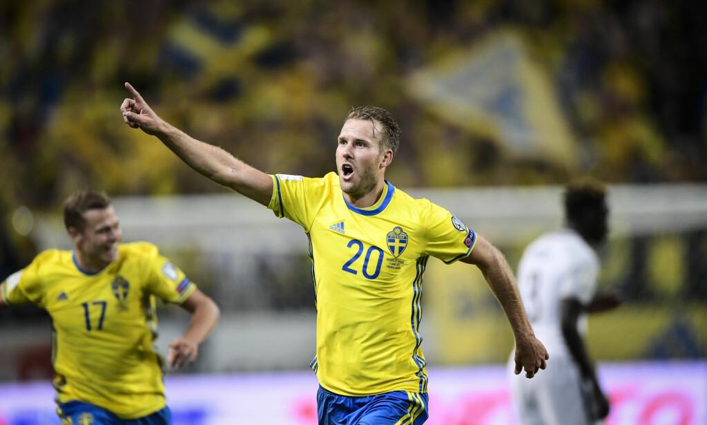 MÅL: Ola Toivonen scoret Sveriges mål da laget tapte 1-2 mot Chile i en treningskamp lørdag. Her fra en tidligere landskamp. Foto: Marcus Ericsson / TT / NTB scanpix