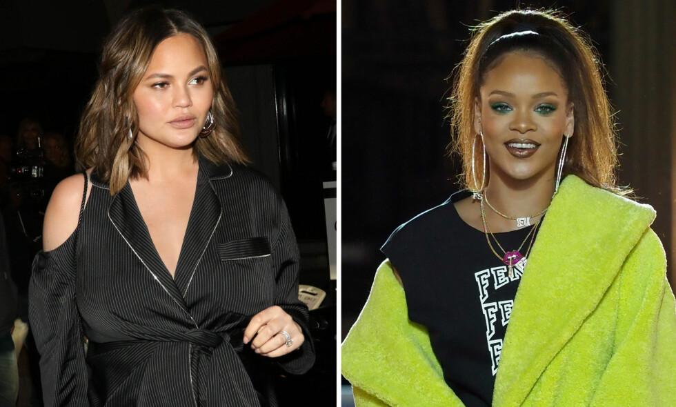 LEI: Modell Chrissy Teigen (t.v) dropper å bruke Snapchat, der hun vanligvis er en aktiv bruker. Det samme gjorde Rihanna forrige uke. Foto: NTB scanpix