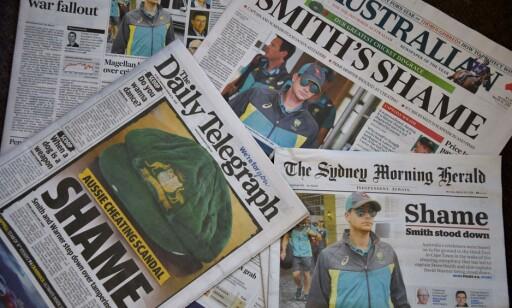 NÅDELØST: Australsk presse er nådeløse med det australske cricket-laget. Foto: AFP PHOTO / Peter PARKS