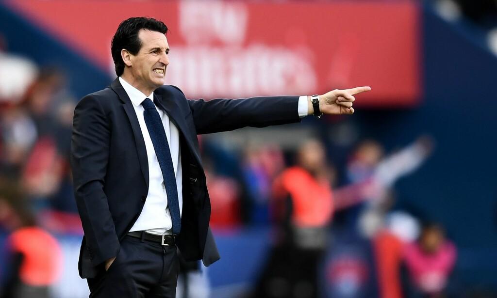FÅR SKRYT: PSG-manager Unai Emery Foto: AFP PHOTO / FRANCK FIFE / NTB Scanpix