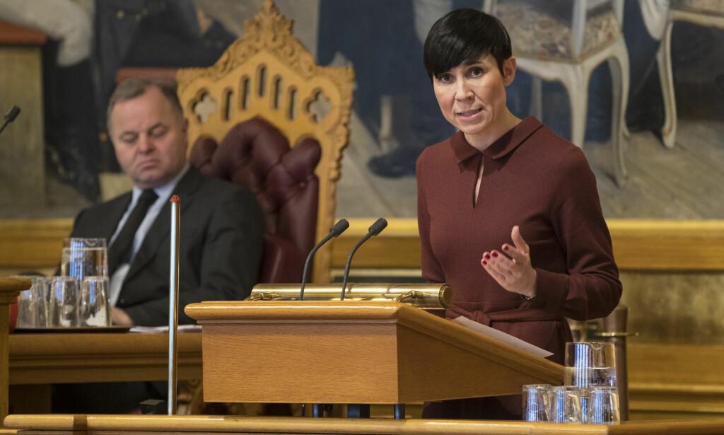 STILLER SEG BAK STORBRITANNIA: Utenriksminister Ine Eriksen Søreide har besluttet at Norge også utviser én russisk diplomat. Foto: Scanpix