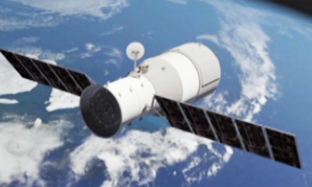 image: Den ni tonn tunge romstasjonen er på vei til jorda: - Treffer 1. april