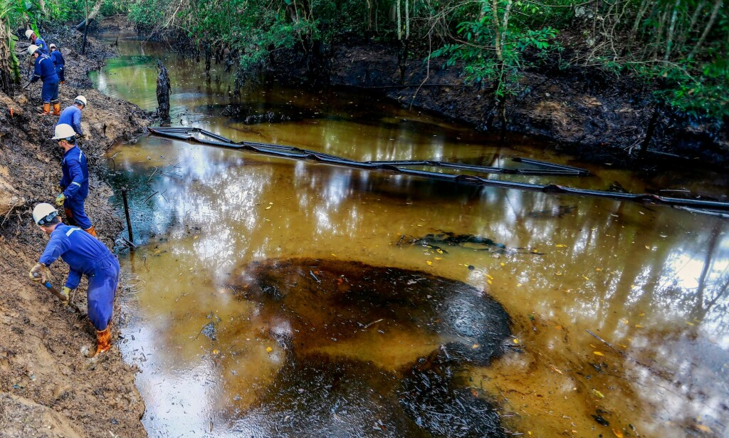 DØDSFELLE: Dette oljesølet har tatt livet av over 2 400 dyr, i tillegg har 70 familier i området fått medisinsk behandling for symptomer som hodepine, svimmelhet og oppkast. Foto: NTB scanpix
