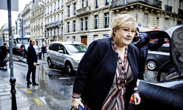 I PARIS: Erna Solberg varmer opp til påsken med regnvær og OECD-møte i Paris. Foto: Nina Hansen / DAGBLADET