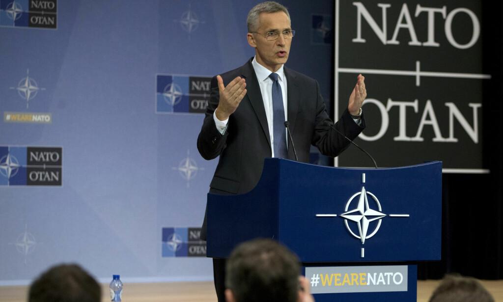 SAMLET: NATOs generalsekretær Jens Stoltenberg sier NATOs allierte står samlet i sanksjonene mot Russland. Foto: Virginia Mayo / AP / NTB scanpix