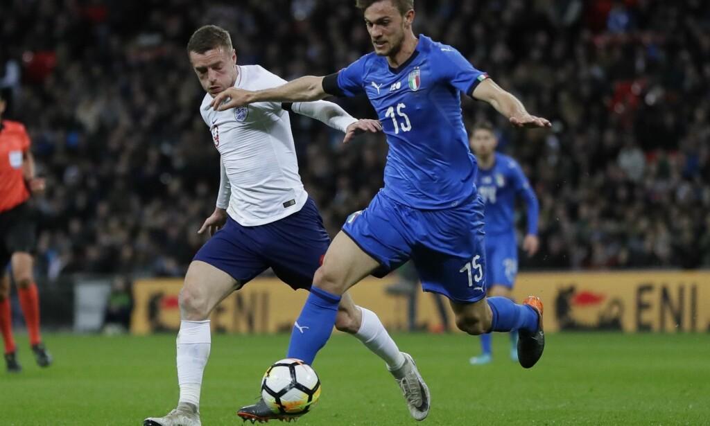 SKÅRET: Jamie Vardy scoret Englands mål i 1-1-kampen mot Italia tirsdag. Foto: AP Photo/Kirsty Wigglesworth / NTB scanpix