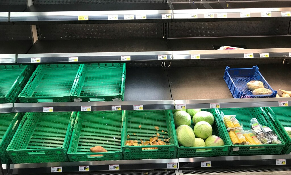 UTPLUKKA: Det begynner å bli lite utvalg av grønnsaker hos butikkene i Berlevåg. Foto: Anfrid Hojem