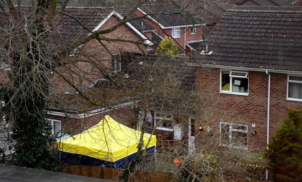 SKRIPALS HJEM: Sergej Skripal har de siste åra bodd her, i et hus i Salisbury. Foto: Andrew Parsons / Rex / Shutterstock / NTB Scanpix