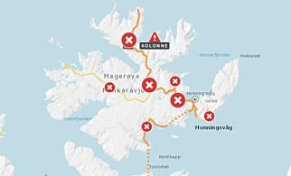 STENGTE VEIER: Siden fredag har flere veier på Magerøya vært stengt. Foto: Vegvesnet