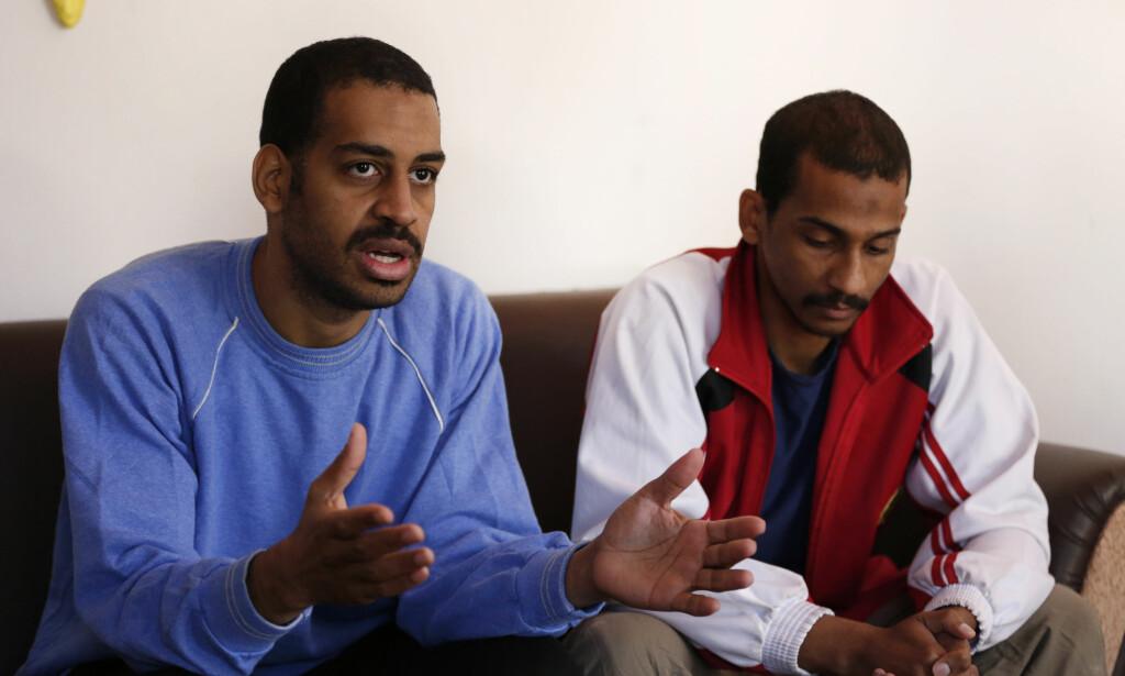 «THE BEATLES»: De to jihadistene Alexanda Kotey (t.v.) og El Shafee Elsheikh anklages for å ha vært med på de gruoppvekkende henrettelsene som gikk verden rundt fra 2014. Nå skal de to stilles for retten, men foreløpig er det uvisst når og hvor rettssaken finner sted. Foto: AP Photo / Hussein Malla / NTB scanpix