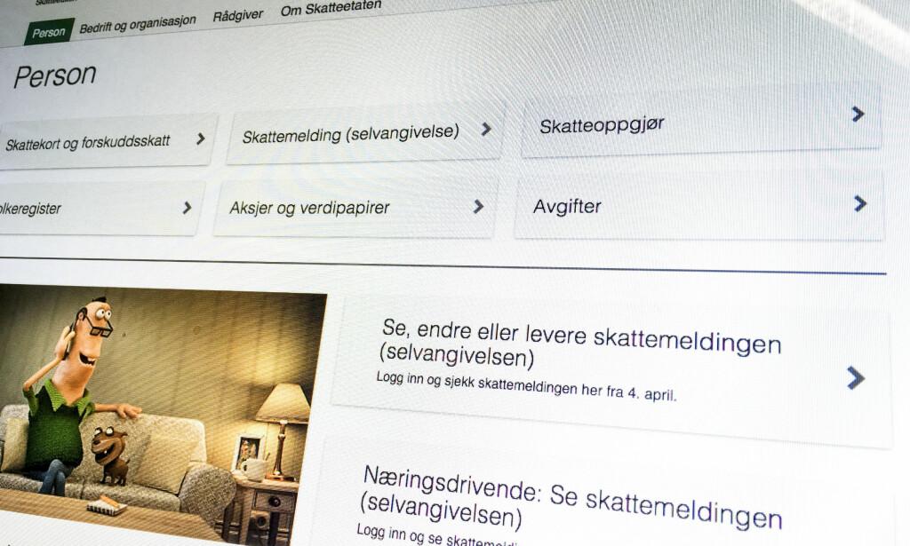 SKATTEMELDING ER NAVNET: Fra og med 2017 ble navnet selvangivelse endret til skattemelding ved en lovendring. 4. april blir skattemeldingen for fjoråret lagt ut. Foto: Stian Lysberg Solum, NTB Scanpix.