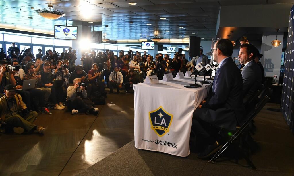 STINN BRAKKE: Pressekonferansen med Zlatan Ibrahimovic i Los Angeles var godt besøkt. Foto: NTB scanpix