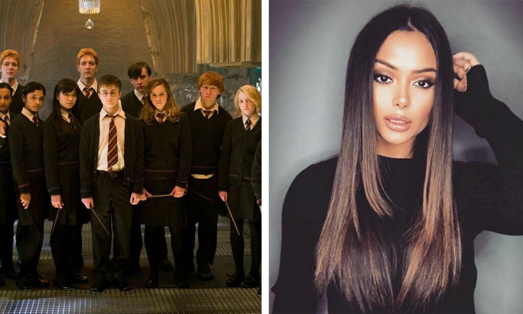 EKSTREM FORVANDLING: Afshan Azad er nesten ikke til å kjenne igjen fra «Harry Potter»-filmene. I bilde til venstre er hun nummer to i rekken fra venstre i fremste rekke. Foto: NTB Scanpix / Skjermdump, Instagram