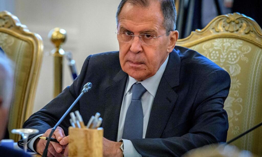 AVLEDNINGSMANØVER: Russlands utenriksminister Sergej Lavrov hevder giftangrepet kan hjelpe til med å avlede oppmerksomhet fra Brexit. Foto: Yuri Kadobnov / AFP / NTB Scanpix