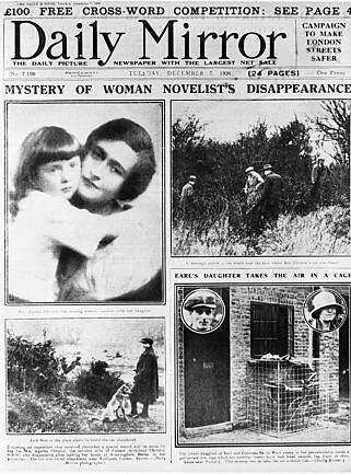 PUBLISITET: Den inntil da relativt ukjente Agatha Christie havnet på førstesida, her i Daily Mirror. Hennes forsvinningsnummer ble til og med oppslag i New York Times.