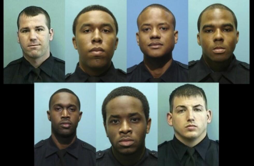 GTTF: I en årrekke skal Daniel Hersl (bak fra venstre), Evodio Hendrix, Jemell Rayam, Marcus Taylor, Maurice Ward (foran fra venstre), Momodu Gando, og Wayne Jenkins ha terrorisert Baltimore. Foto: Baltimore Police Department
