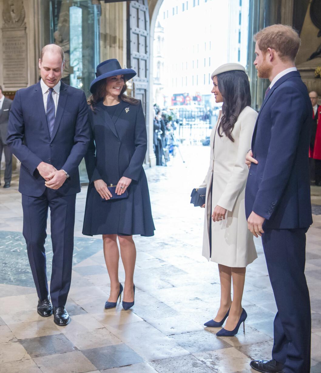 FIRERBANDE: Hertuginne Kate og prins William side om side med det kommende ekteparet prins Harry og Meghan Markle under et arrangement i Westminster Abbey 12. mars. Foto: NTB Scanpix