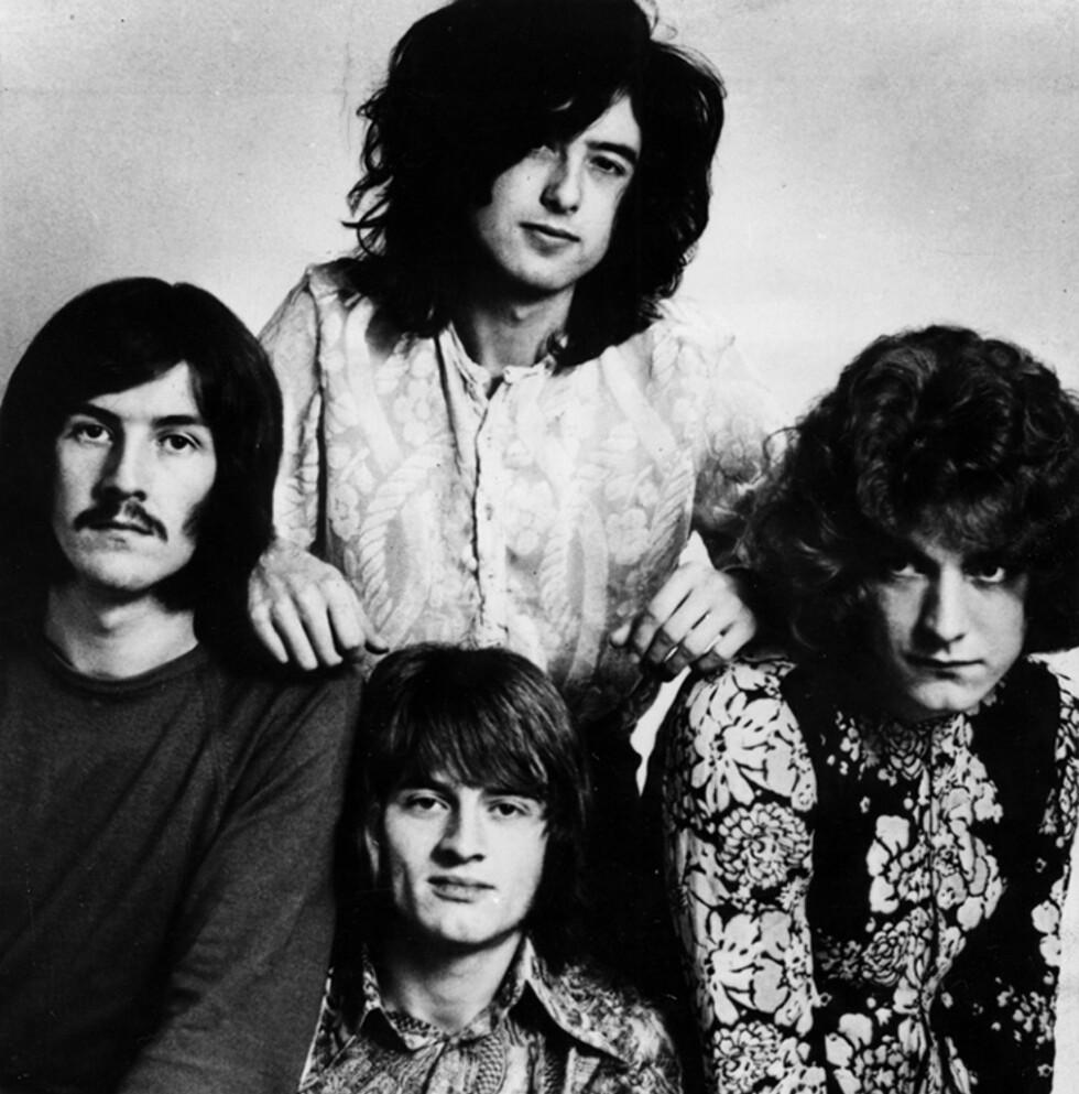 DE STØRSTE: Led Zeppelin så dagens lys for 50 år siden og troner fortsatt på pallen over verdens beste band. Her fra Stockholm i 1969, John Bonham (t.v.), Jimmy Page, John Paul Jones og Robert Plant. Foto: NTB Scanpix