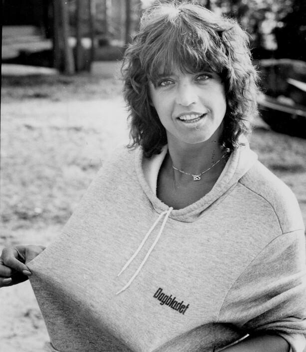 1979: Lill-Babs poserer i Dagbladet-genser helt på slutten av 70-tallet. Foto: Ole C H Thomassen / Dagbladet
