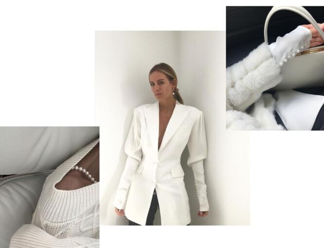 SLIK KAN DET GJØRES: Celine Aagaard viser deg hvordan du kan bruke perler denne sesongen på tre forskjellige måter. Foto: Skjermdump fra Instagram / @celineaagaard_